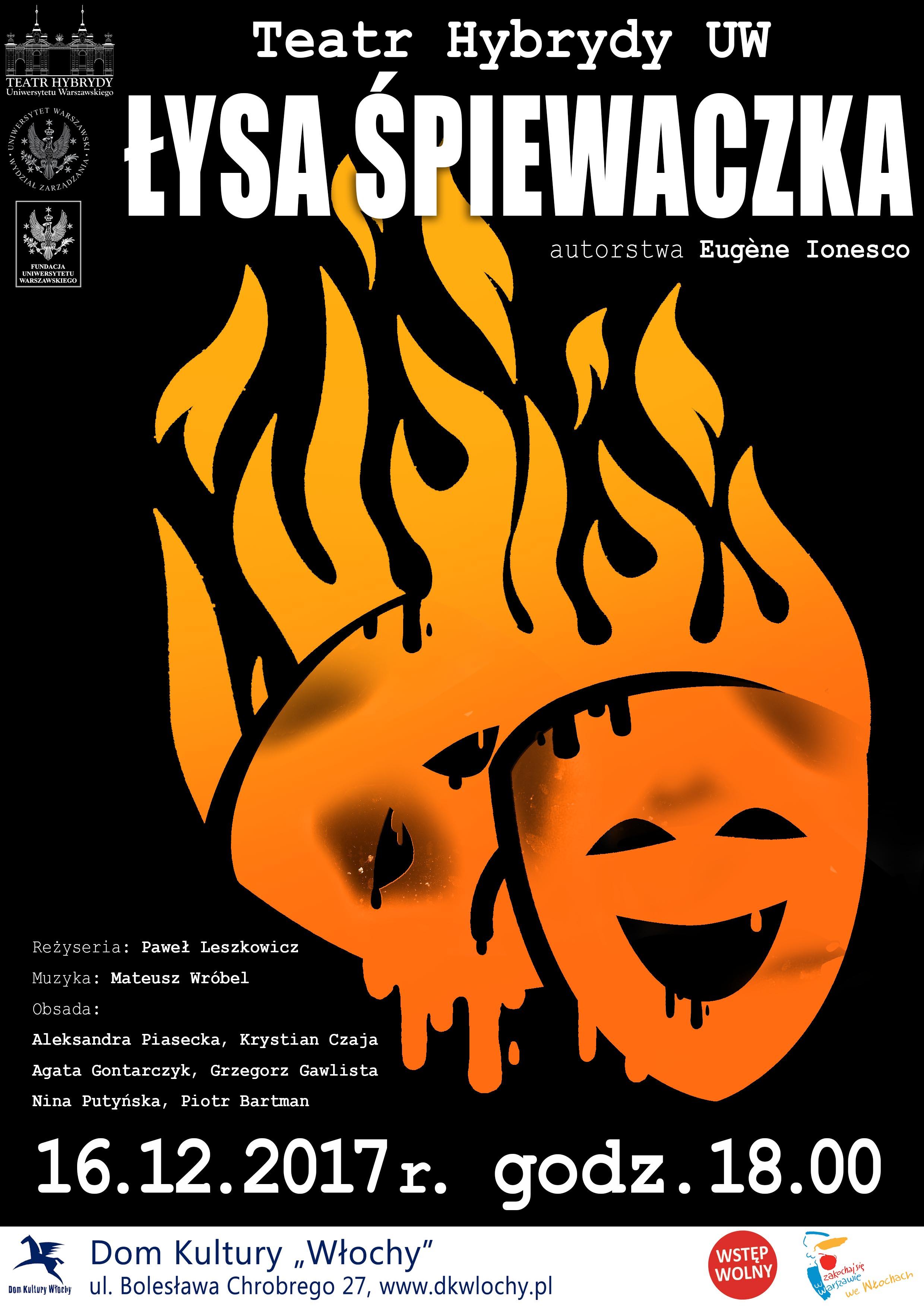 Plakat teatra Łysa śpiewaczka